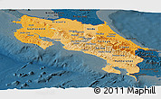 Political Shades Panoramic Map of Costa Rica, darken