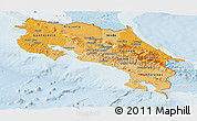 Political Shades Panoramic Map of Costa Rica, lighten