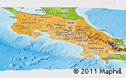 Political Shades Panoramic Map of Costa Rica, physical outside
