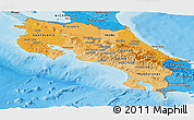 Political Shades Panoramic Map of Costa Rica