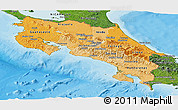 Political Shades Panoramic Map of Costa Rica, satellite outside, bathymetry sea