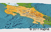Political Shades Panoramic Map of Costa Rica, satellite outside