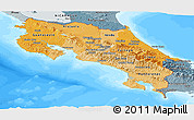 Political Shades Panoramic Map of Costa Rica, semi-desaturated, land only
