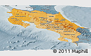 Political Shades Panoramic Map of Costa Rica, semi-desaturated