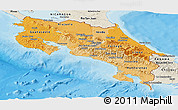 Political Shades Panoramic Map of Costa Rica, shaded relief outside, bathymetry sea