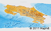 Political Shades Panoramic Map of Costa Rica, single color outside