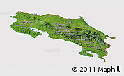 Satellite Panoramic Map of Costa Rica, cropped outside