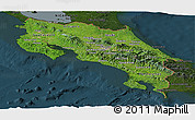 Satellite Panoramic Map of Costa Rica, darken