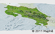 Satellite Panoramic Map of Costa Rica, lighten