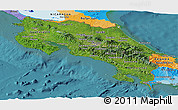 Satellite Panoramic Map of Costa Rica, political outside, satellite sea