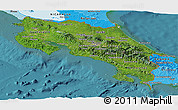 Satellite Panoramic Map of Costa Rica, political shades outside, satellite sea