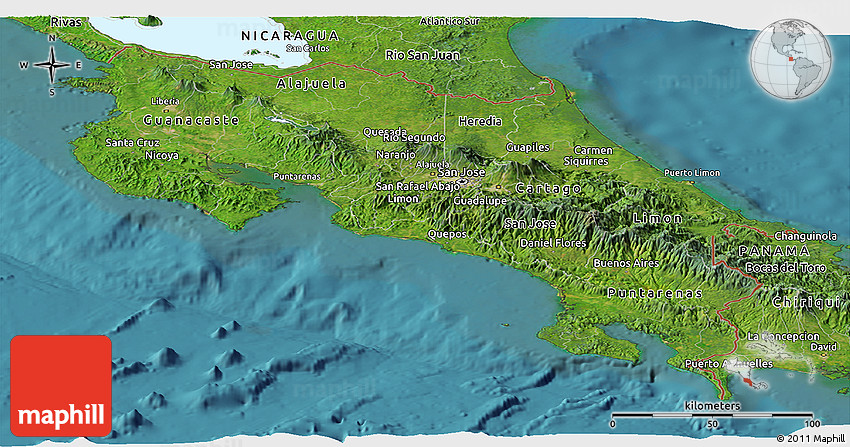 Satellite Panoramic Map of Costa Rica