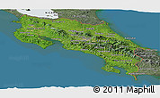 Satellite Panoramic Map of Costa Rica, semi-desaturated, land only