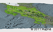 Satellite Panoramic Map of Costa Rica, semi-desaturated