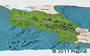 Satellite Panoramic Map of Costa Rica, shaded relief outside, satellite sea