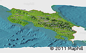 Satellite Panoramic Map of Costa Rica, single color outside
