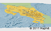 Savanna Style Panoramic Map of Costa Rica, single color outside