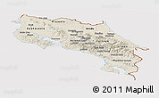 Shaded Relief Panoramic Map of Costa Rica, cropped outside
