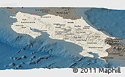 Shaded Relief Panoramic Map of Costa Rica, darken