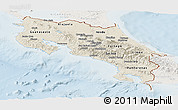 Shaded Relief Panoramic Map of Costa Rica, lighten