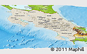 Shaded Relief Panoramic Map of Costa Rica, physical outside