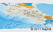 Shaded Relief Panoramic Map of Costa Rica, political outside, shaded relief sea