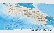 Shaded Relief Panoramic Map of Costa Rica, political shades outside, shaded relief sea