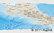 Shaded Relief Panoramic Map of Costa Rica
