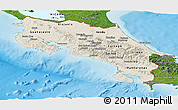 Shaded Relief Panoramic Map of Costa Rica, satellite outside, shaded relief sea
