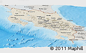 Shaded Relief Panoramic Map of Costa Rica, semi-desaturated, land only