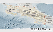 Shaded Relief Panoramic Map of Costa Rica, semi-desaturated