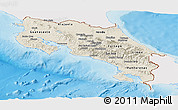 Shaded Relief Panoramic Map of Costa Rica, single color outside