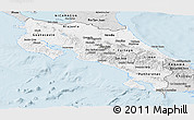 Silver Style Panoramic Map of Costa Rica