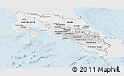 Silver Style Panoramic Map of Costa Rica, single color outside
