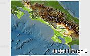 Physical 3D Map of Puntarenas, darken