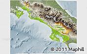 Physical 3D Map of Puntarenas, semi-desaturated