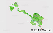 Political Shades 3D Map of Puntarenas, cropped outside