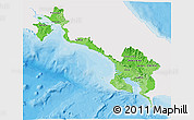 Political Shades 3D Map of Puntarenas, single color outside