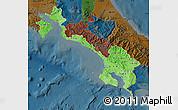 Political Shades Map of Puntarenas, darken