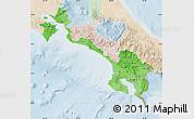 Political Shades Map of Puntarenas, lighten