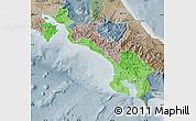Political Shades Map of Puntarenas, semi-desaturated