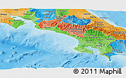 Political Shades Panoramic Map of Puntarenas