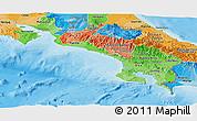 Political Shades Panoramic Map of Puntarenas