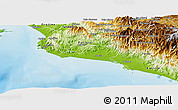 Physical Panoramic Map of Parrita