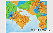 Political 3D Map of Puntarenas