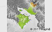 Physical Map of Puntarenas, desaturated