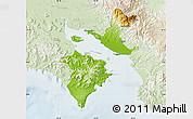 Physical Map of Puntarenas, lighten