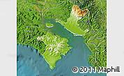 Physical Map of Puntarenas, satellite outside
