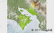 Physical Map of Puntarenas, semi-desaturated