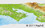 Physical Panoramic Map of Puntarenas